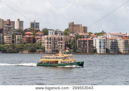 Sydney, Australia - February 02, 2013: Sydney Transport Ferry On A Ride In Sydney Harbour. Sydney Pu