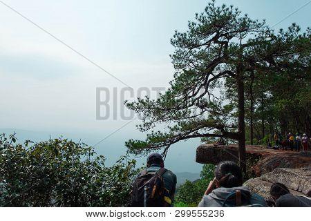 Lom Sak Cliff Sign/ Phu Kradueng / Loei/ 13-02-2019: Lom Sak Cliff By The End Kradueng West. Most To