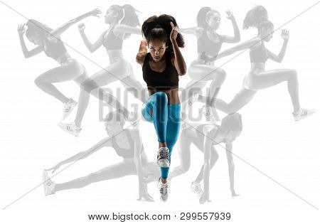 Young African Woman Running Isolated On White Studio Background With Shadows. One Female Runner, Ath