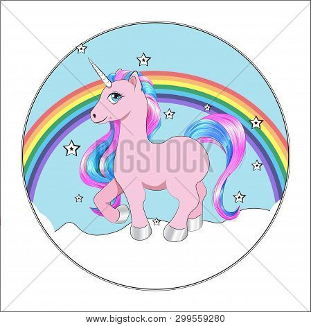 Funny Little Unicorn Pony With Pink And Blue Mane, And Stars, Unicorn Happy Birthday Card, Cake Pict