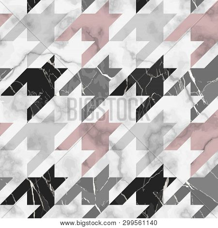 Marble Vector Texture Luxury Houndstooth Seamless Pattern