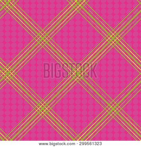 Hand Drawn Green And Yellow Diagonal Neon Plaid Design. Seamless Vector On Hot Pink Background With