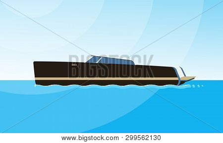 Realistic Flat Style Illustration Of The Side View Of Black Motorboat On The Water. Modern Ship Imag