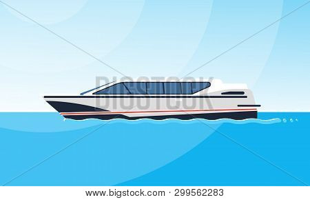 Realistic Flat Style Illustration Of The Side View Of White Motorboat On The Water. Modern Ship Imag