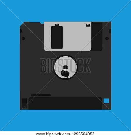 Floppy Disk Diskette Vintage Black Backup Device Obsolete Vector Icon. Computer Memory Drive Magneti