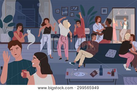 Happy Friends At Home Party. Apartment Or Living Room Full Of People Having Fun, Dancing And Talking