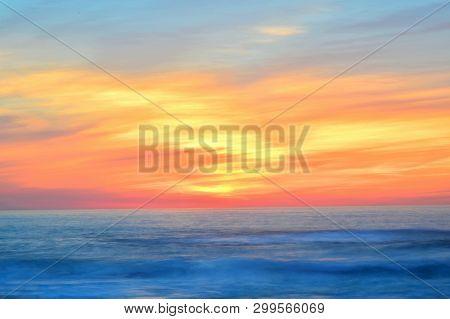 Sunset; Atlantic Ocean, Gold And Blue Beauty, Silleiro Cap