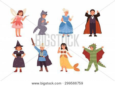 Set Of Cute Children Wearing Costumes Of Fairytale Characters - Prince, Dragon, Pixie, Witch, Vampir