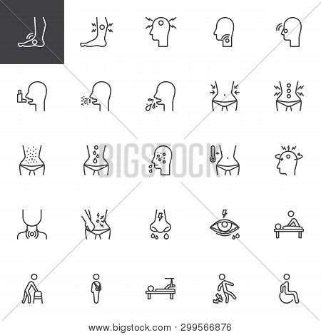 Health Conditions And Diseases Line Icons Set. Linear Style Symbols Collection, Outline Signs Pack.