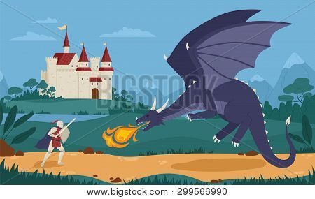 Brave Knight Or Swordsman Fighting With Dragon Against Medieval Castle On Background. Legendary Hero
