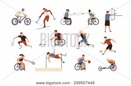 Collection Of Male And Female Paralympic Athletes Isolated On White Background. Bundle Of Disabled P