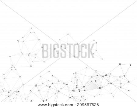 Block Chain Global Network Technology Concept. Network Nodes Greyscale Plexus Background. Fractal Hu