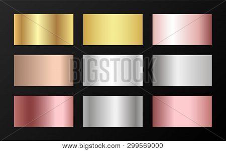 Trendy Golden, Platinum, Bronze, Pink Gold Gradients. Metallic Foil Texture Silver, Steel, Chrome, P