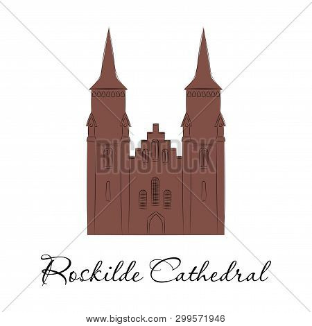 World Sights. Travel To Europe. Architectural Building, Famous Church Of Denmark, Cathedral Of Dioce