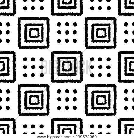 Boho Geometric Hand Drawn Ink Seamless Pattern