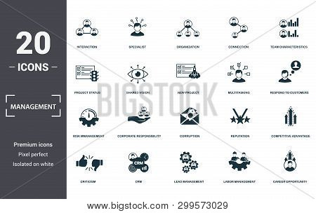 Management Icons Set Collection. Includes Simple Elements Such As Interaction, Specialist, Organizat