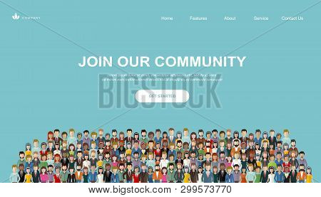 Join Our Community. Crowd Of United People As A Business Or Creative Community Standing Together. Fl