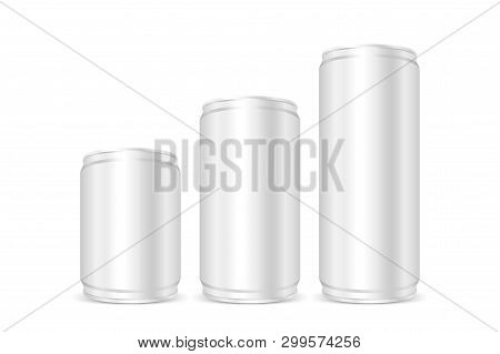 Canned Silver, Iron Cans Silver, Set Blank Metallic Silver Beer Or Soda Cans Isolated On White, Empt
