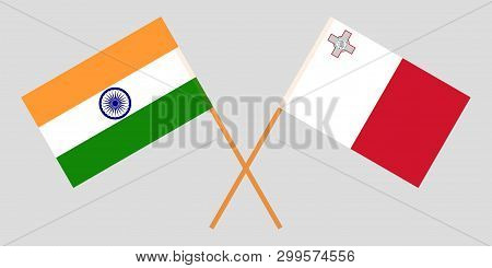 Malta And India. The Maltese And Indian Flags. Official Colors. Correct Proportion. Vector Illustrat