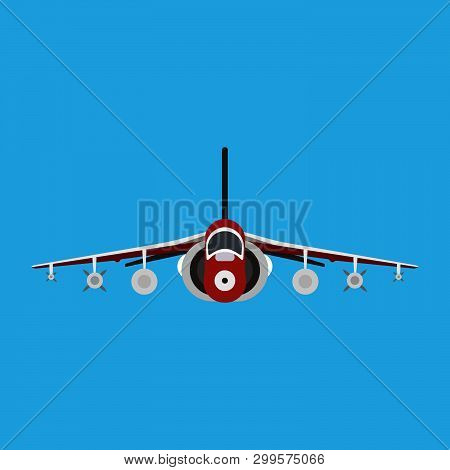 Military Aircraft Vector Icon Front View. Aviation Air Fighter Jet. War Plane Advanced. Interceptor