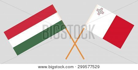 Malta And Hungary. The Maltese And Hungarian Flags. Official Colors. Correct Proportion. Vector Illu