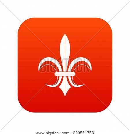 Lily Heraldic Emblem Icon Digital Red For Any Design Isolated On White Illustration
