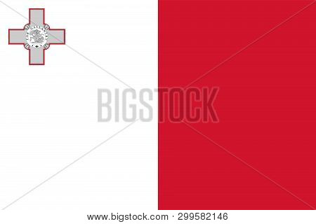 Flag Of Malta. Official Colors. Correct Proportion. Vector Illustration