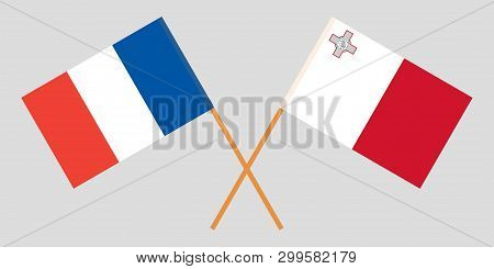 Malta And France. The Maltese And  French Flags. Official Colors. Correct Proportion. Vector Illustr