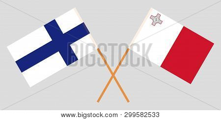 Malta And Finland. The Maltese And Finnish Flags. Official Colors. Correct Proportion. Vector Illust
