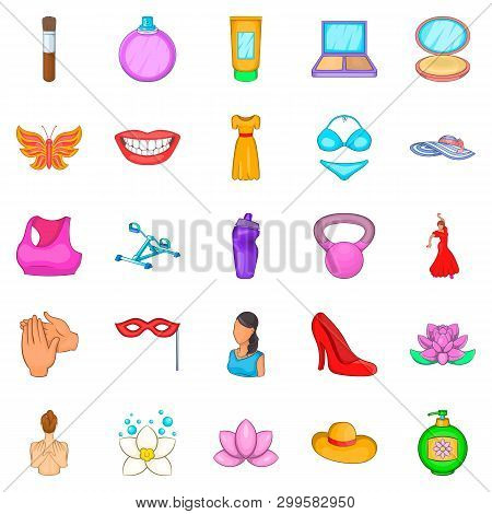 Loveliness Icons Set. Cartoon Set Of 25 Loveliness Icons For Web Isolated On White Background