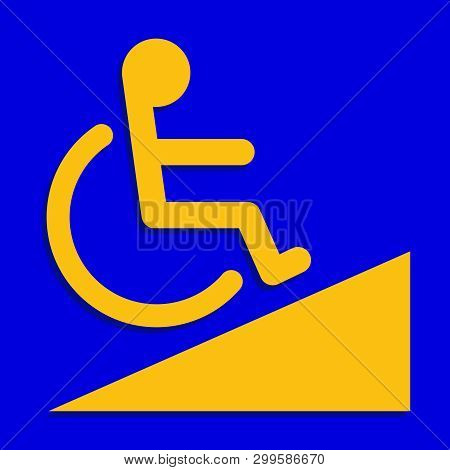Disabled Signs Blue Colors Frame Background, Sign Boards Of Disability Slope Path Ladder Way Sign Ba