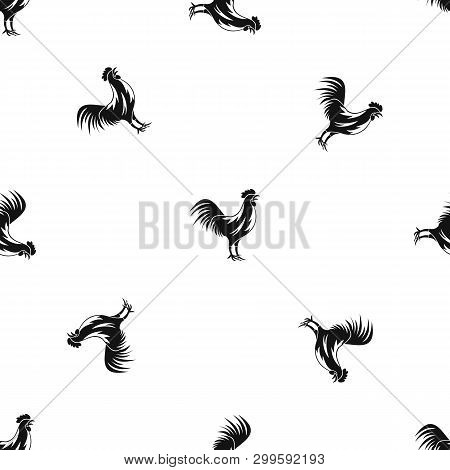 Gallic Rooster Pattern Repeat Seamless In Black Color For Any Design. Geometric Illustration