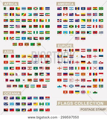 Postage Stamp With Flags Of The World. Set Of 228 World Flag. Vector Illustration.