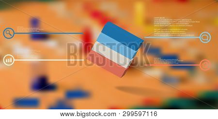 3d Illustration Infographic Template. The Embossed Cube Is Horizontally Divided To Four Color Parts.