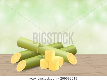 Sugar Cane, Cane On Wood Table And Green Soft Bokeh Nature Background, Pieces Of Fresh Sugarcane, Su