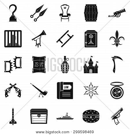 Armament Icons Set. Simple Set Of 25 Armament Icons For Web Isolated On White Background