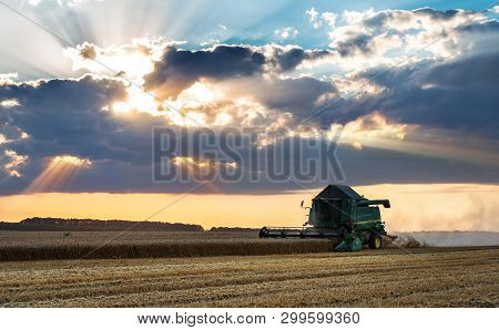 Dobrich, Bulgaria - July 08: Modern John Deere Combine Harvesting Grain In The Field Near The Town D