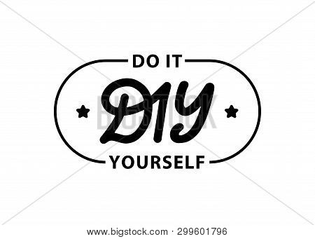 Diy Do It Yourself. Lettering Abbreviation Logo Circle Stamp. Rubber Seal Stamp On White Background