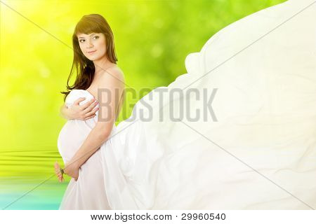pregnant woman and pink daisy flower poster