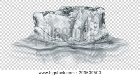 One Big Realistic Translucent Ice Cube In Gray Color Half Submerged In Water. Isolated On Transparen