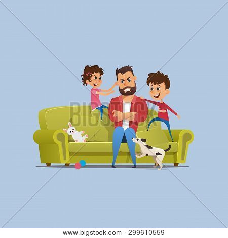 Stressed Annoyed Father Naughty Children On Sofa. Tired Stressed Man With Clenched Teeth Sitting. Na