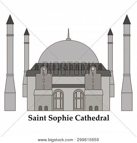Cartoon Turkey Symbols And Objects Set: Saint Sophie Cathedral, Maidens Tower, Palace Of Topapa, Gal