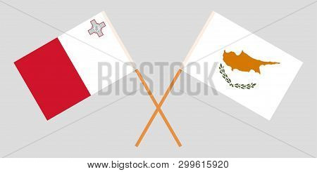 Malta And Cyprus. The Maltese And Cyprian Flags. Official Colors