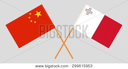 Malta And China. The Maltese And Chinese Flags. Official Colors. Correct Proportion. Vector Illustra