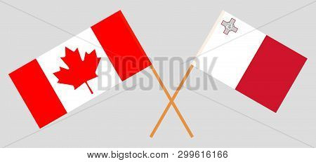 Malta And Canada. The Maltese And Canadian Flags. Official Colors. Correct Proportion. Vector Illust