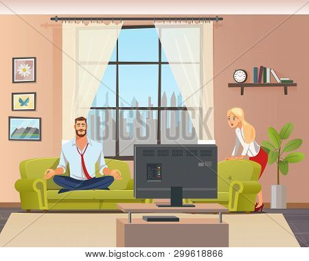 Peaceful Calm Man Doing Home Yoga In Living Room. Father Sitting On Couch In Lotus Position. Shocked