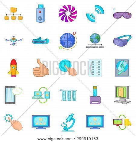 Progressive Technology Icons Set. Cartoon Set Of 25 Progressive Technology Icons For Web Isolated On