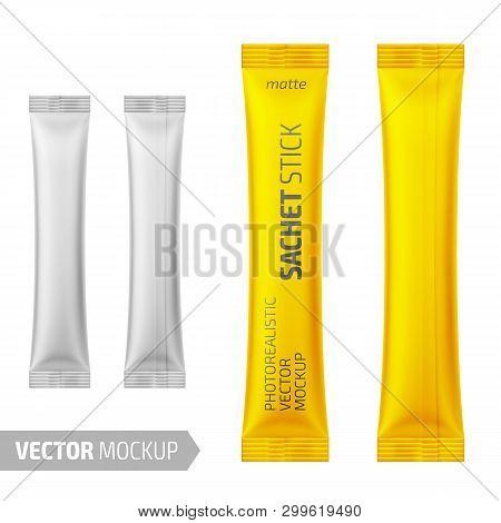 White Matte Sachet Stick. Vector 3d Illustration.
