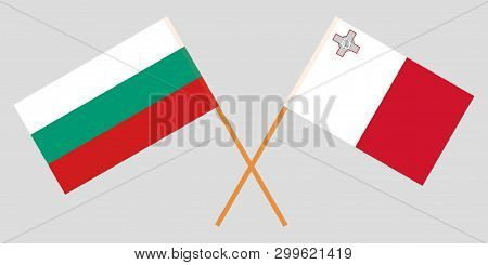 Malta And Bulgaria. The Maltese And Bulgarian Flags. Official Colors. Correct Proportion. Vector Ill
