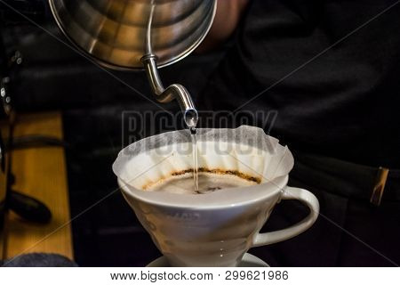 Preparation Process An Alternative Method Of Coffee In Cafe. Pour Over V60. Funnel And Server. Work